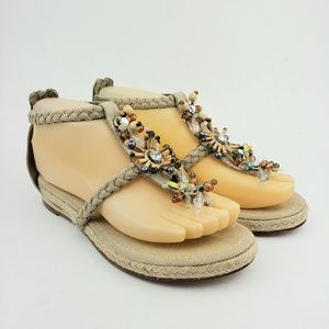 Apepazza Beaded Thong Ankle Strap Sandals 6 M